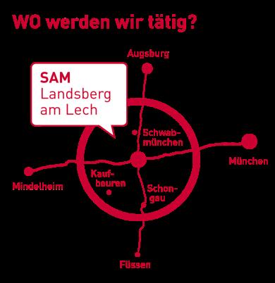 Landkarte mit Wirkungskreis SAM: Landsberger Umland